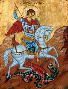 Άγιος Γεώργιος Religious Icons, Religious Art, Hl Georg, Patron Saint Of England, Faith Of Our Fathers, Greek Icons, Saint George And The Dragon, Fairytale Fantasies, Byzantine Art