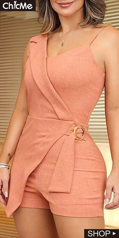 Sexy V-Neck Spaghetti Strap Sexy Rompers Solid Summer Women Irregular Party Rompers Sleeveless Sashes Casual Playsuit Short Summer Dresses, Summer Outfits, Casual Outfits, Summer Clothes, Dress Long, Look Fashion, Trendy Fashion, Womens Fashion, Classic Fashion