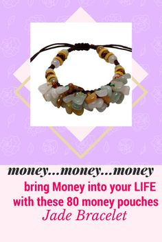 Want some fortune and luck? This heavenly money pouch bracelet brings you just what you want! Colorful jade beads are set on-top of more than 80 multiple colored money pouches which dangles gracefully on your wrist, just like your money pouch.