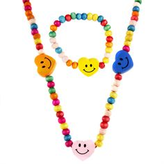 Little Girl Multi-colored Wooden Happy Heart Jewelry Set with Necklace and Bracelet (Happy Heart), Yellow
