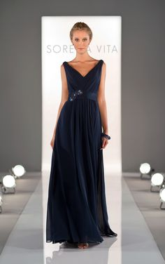 Navy blue bridesmaid dresses come in Chiffon and feature a ruched bodice and waist band. Exclusive designer navy blue bridesmaid dresses by Sorella Vita.