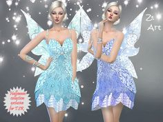 Halloween collection: Tender fairy costume with lace and shiny accents. A special eye-catcher are the wings with the fantasy pattern. Celebrating beautiful :D  Found in TSR Category 'Sims 4 Female...