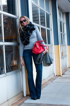 Bootcut Jeans with gray sweater, black plaid scarf and pop of color from bag | via @HeatherWyancko | great simple casual chic outfit