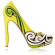 Nicholas Kirkwood Fluro Printed Satin Pumps via InStyle Unique Shoes, Cute Shoes, Me Too Shoes, Awesome Shoes, Fab Shoes, Hand Painted Shoes, Satin Pumps, Nicholas Kirkwood, Shoe Art