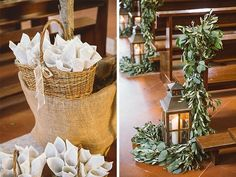 Throwing confetti cones and wedding ceremony decorations - Greenery pew ends and aisle lanterns - Romantic and Rustic Tuscan Wedding