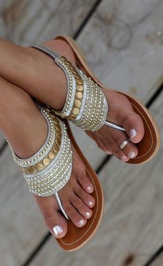 Gold and Silver Ankle Strap #Sandals