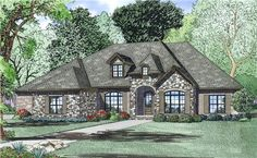 View this 1 story, 4 bedroom, alluring French home plan (#153-1988) with country influences at The Plan Collection.