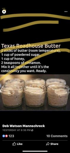 Texas Roadhouse Butter, Powdered Sugar, Stick Of Butter, Tractors, Cinnamon, Food, Canela, Essen, Meals