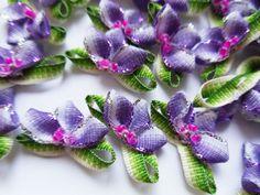 24 mm(W) Ombre Purple/ Green Fancy Ribbon Flowers w/ Beads-Lots 36 pcs-R0087