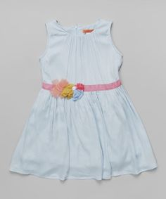 Look what I found on #zulily! Light Blue Rosette Dress - Toddler & Girls #zulilyfinds