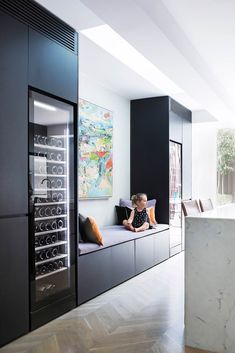 Vintec wine fridge - Lit from within, adding another element of sophistication to the slick kitchen at night. Place next to food fridge. Home Interior, Interior Design Kitchen, Interior Styling, Style At Home, Estilo Colonial, Casa Milano, Home Wine Cellars, Cocinas Kitchen, Home Bar Designs