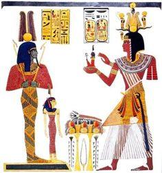 Aus dem Grab von Ramses IX.: Ramses opfert die Maat dem Gott Ptah