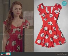 Lydia's red floral dress on Teen Wolf.  Outfit Details: http://wornontv.net/50734/ #TeenWolf