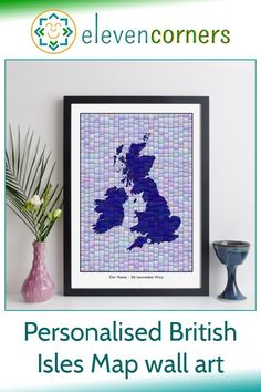 Custom map art of the British Isles - you can personalise it with a location marker and a special message below the map. Unique personalised map gift idea for her. #elevencorners #mapart #personalisedprint #giftideas #giftsforher Personalized Anniversary Gifts, Personalized Gifts For Her, Personalised Prints, Personalized Wall Art, New Home Presents, New Home Gifts, Map Wedding, Wedding Gifts, Map Wall Art