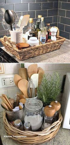 Best 21 Great Ideas About Clutter_Free Kitchen Countertops - Home Decor - . - Best 21 Great Ideas About Clutter_Free Kitchen Countertops – Home Decor – - Diy Home Decor Projects, Easy Home Decor, Cheap Home Decor, House Projects, Basket Tray, Rattan Basket, Round Basket, Basket Storage, Basket Ideas