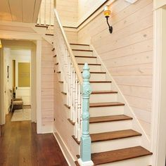 "John on Instagram: ""Classic entryway and stairwell w shiplap ceiling and walls, wide plank oak flooring, lots of light, and a reclaimed newel post from New…"""