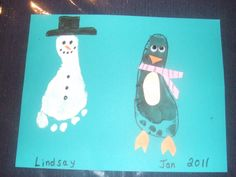 winter crafts for preschool children | My Darlings and I made these little footprint Snowmen and Penguins ...