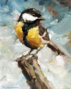 """Koolmees"" — by Dorus Brekelmans Dutch); tit in England or chickadee i… ""Koolmees"" — by Dorus Brekelmans Dutch); tit in England or chickadee in USA. Bird Paintings On Canvas, Animal Paintings, Canvas Artwork, Painting Canvas, Oil On Canvas, Bird Drawings, Wildlife Art, Bird Art, Painting Inspiration"
