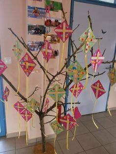 tree with kites