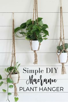 Simple DIY Macrame Plant Hangers with Video Tutorial. Cheap and easy DIY. 35 Modest Decor Ideas To Copy Asap – Simple DIY Macrame Plant Hangers with Video Tutorial. Cheap and easy DIY macrame plant hanger ideas that are easy to craft and arDIY Hang Diy Simple, Easy Diy, Super Simple, Diy Macrame Plant Hanger, Wall Plant Hanger, Diy Hanging Planter Macrame, Macreme Plant Hanger, Indoor Plant Hangers, Mural Floral