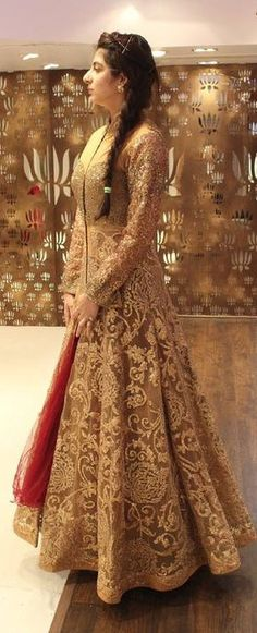 Beige Outfit, really impressive design of this golden anarkali suit Pakistani Wedding Dresses, Pakistani Bridal, Pakistani Outfits, Bridal Lehenga, Indian Dresses, Indian Outfits, Bridal Dresses, Indian Bridal Wear, Desi Clothes