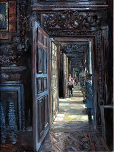 Chatsworth - The State Rooms by Hector McDonnell Illustrations, Illustration Art, Contemporary Art London, Gustave Courbet, Dark Ages, Interior Exterior, Museum, Anime Comics, Cool Art
