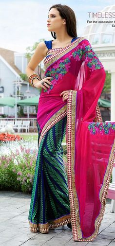 $66.36 Pink and Blue Chiffon Embroidered Party Wear Saree 26220
