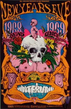Grateful Dead, Quicksilver Messenger Service, It's a Beautiful Day and Santana at Winterland 12/31/68 by Lee Conklin