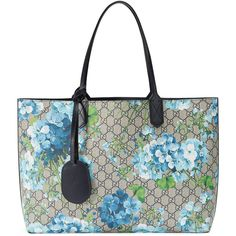 Gucci Reversible Gg Blooms Leather Tote ($1,250) ❤ liked on Polyvore featuring bags, handbags, tote bags, accessories, blue, luggage & lifestyle bags, women, leather purses, gucci tote bag and blue leather tote