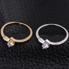 Full Sizes Cute Arrow Design Inlay White Zircon Copper Finger Jewelry Ring Two Colors