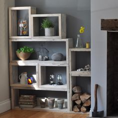 Reclaimed distressed wood box shelving unit which can be configured in any way to suit the home. Made by HomeBarn shop