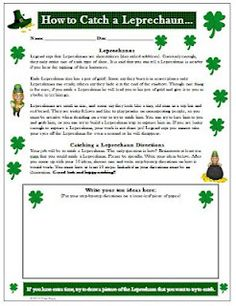 How to Catch a Leprechaun Creative Writing Activity for St. Patrick's Day - Re-pinned by @PediaStaff – Please Visit http://ht.ly/63sNt for all our pediatric therapy pins