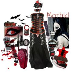 """k1ll th3 r0ck"" by octoburfrost on Polyvore #goth #gothic #gothgoth #gothfashion #gothguy #gothboy #vampire #emo #alternative #boots #bats #spooky #dark #creepy #cemetery #horror #corset #halloween #cyber #cybergoth #industrial #blood #gore #morbid #macabre #tripp #leather #blackandred"