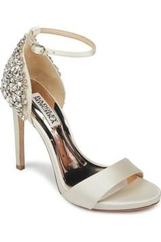 Jeweled and embellished wedding shoes are having a huge moment, and crystal back wedding shoes are one of the most popular bridal heels of all! Bridal Heels, Wedding Heels, Designer Wedding Shoes, Nordstrom Gifts, Embellished Sandals, Ankle Strap Heels, Badgley Mischka, Open Toe, Crystal