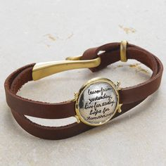 Learn From Yesterday Leather Bracelet -words of Albert Einstein