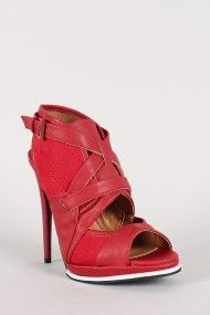 Qupid Holly-15 Perforated Strappy Stiletto Heel