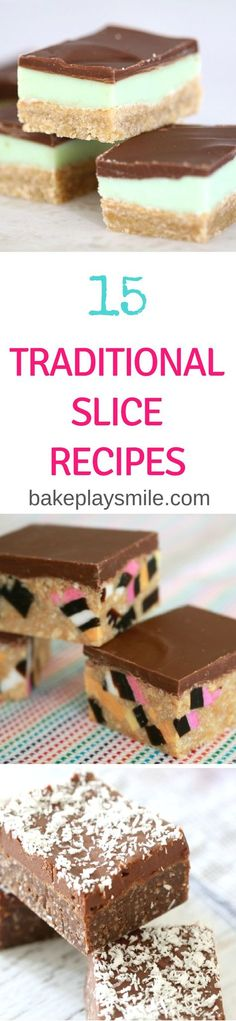 The ultimate collection of 15 Classic & Traditional Slice Recipes. From caramel slice to jelly slice, hedgehog slice to peppermint slice�� and so much more! There really is something for everyone. #traditional #classic #slices #bars #traybakes #baking #thermomix
