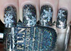Black Holo Snowflake Holiday Nail Art