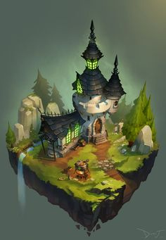 ArtStation - Castle, Dirty J #остров #храм