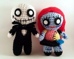 Nightmare Before Christmas - Jack and Sally Skellington - Tim Burton - Zombie Amigurumi - Skeleton Plush Doll Set - lauriegorexx @ Etsy