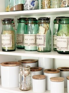 Coordinating storage jars creates a calming sense of order. Mix vintage jars with cheapies from Ikea for an instant style hit.