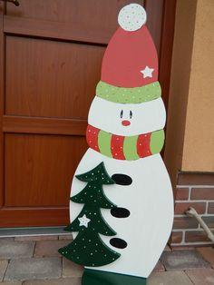 Sněhulák se stromečkem Dekorace ze dřeva,ručně malovaná velikost 1200x400