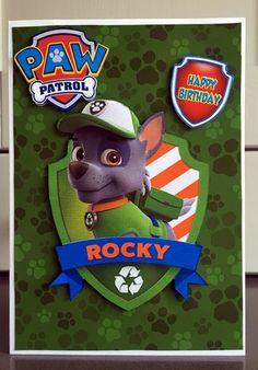 Paw Patrol Rocky Birthday A5 Decoupage by Elaine Harmer