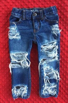 Items similar to SHREDDERS baby boy girl toddler unisex destroyed distressed bleached straight skinny shredded denim jeans Oshkosh on Etsy Toddler Girl Style, Toddler Girl Outfits, Kids Outfits, Toddler Girls, Toddler Hair, Baby Outfits, Toddler Dress, Jean Outfits, Toddler Jeans