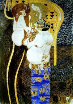 Gustav Klimt - 1901, Klimt painted the Beethoven Frieze for the 14th Vienna Secessionist exhibition in celebration of the composer,