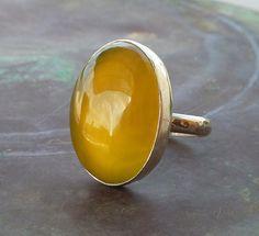 Australian yellow Opalite gemstone ring Yellow Cocktail by anakim, $126.00