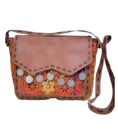 06ac0e23bf7  Beautiful  designer  handmade  leather and  Embroidered  cross body   shoulder