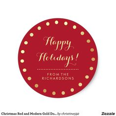 Christmas Red and Modern Gold Dots Happy Holidays