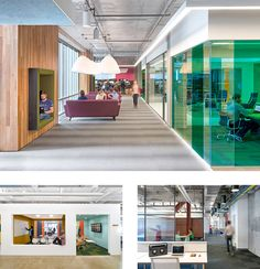 The O+A-designed offices of Cisco, Yelp, and Open Table (clockwise, from top).  (Photos by Jasper Sanidad)