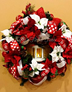 Christmas Lantern Wreath - Red and White Christmas Wreath, Poinsettia Christmas Wreath, Red White Polka Dot Ribbon, Ho Ho Ho Ribbon by GigisFlowerFancy on Etsy